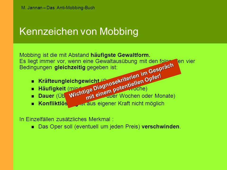 M. Jannan – Das Anti-Mobbing-Buch Kennzeichen von Mobbing Mobbing ist die mit Abstand häufigste Gewaltform. Es liegt immer vor, wenn eine Gewaltausübu