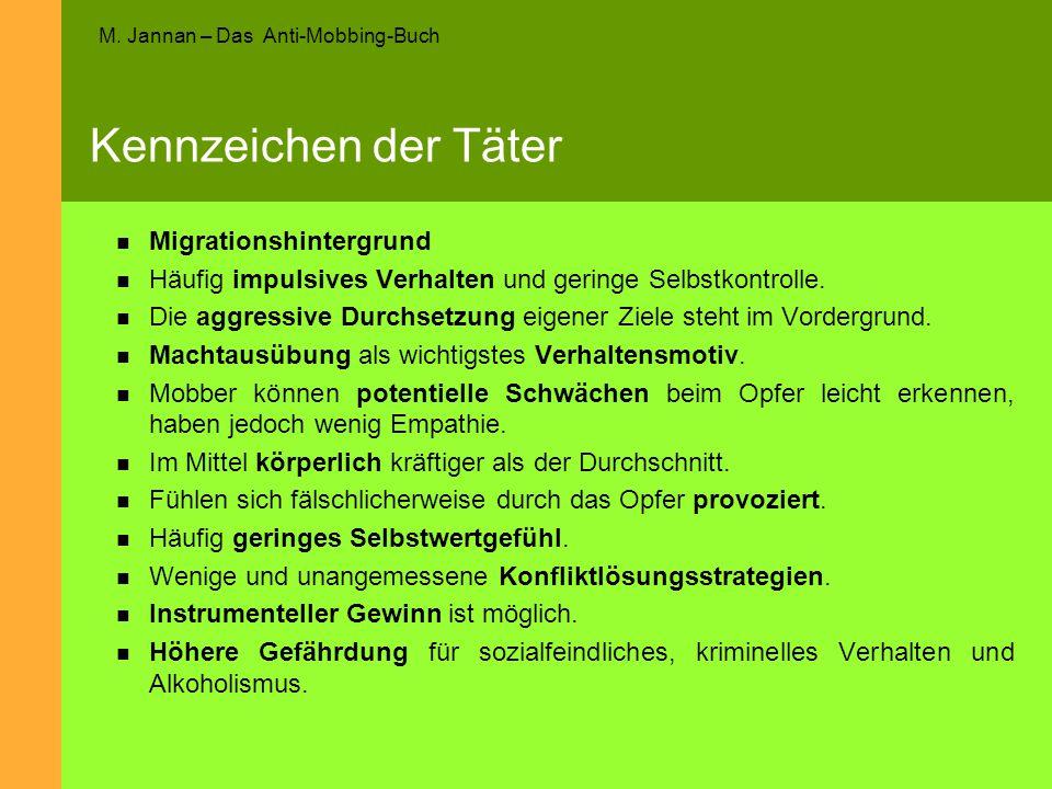 M. Jannan – Das Anti-Mobbing-Buch Kennzeichen der Täter Migrationshintergrund Häufig impulsives Verhalten und geringe Selbstkontrolle. Die aggressive