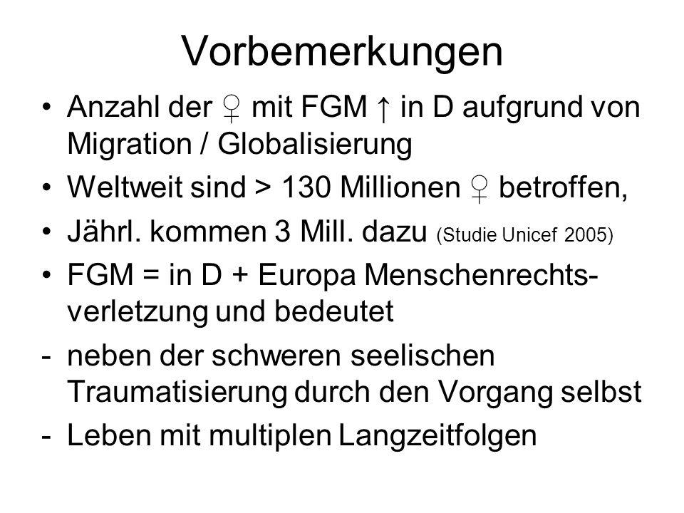 Vorbemerkungen Anzahl der ♀ mit FGM ↑ in D aufgrund von Migration / Globalisierung Weltweit sind > 130 Millionen ♀ betroffen, Jährl. kommen 3 Mill. da