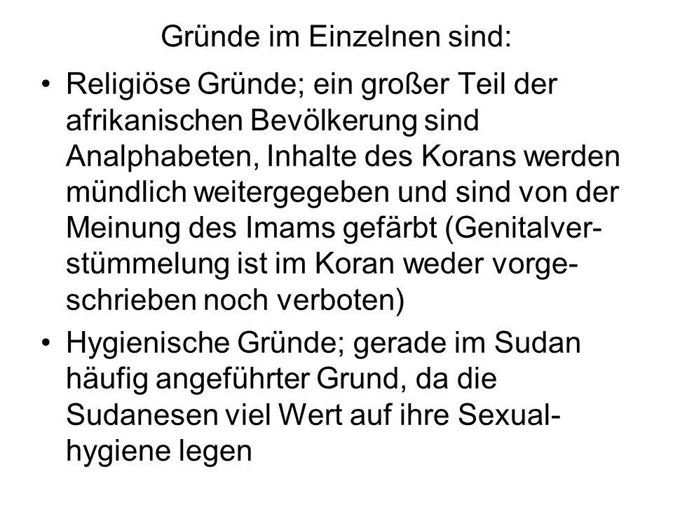 Gründe im Einzelnen sind: Religiöse Gründe; ein großer Teil der afrikanischen Bevölkerung sind Analphabeten, Inhalte des Korans werden mündlich weiter