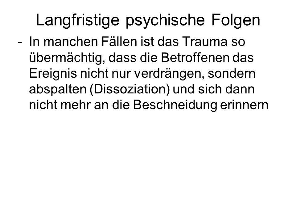 Langfristige psychische Folgen -In manchen Fällen ist das Trauma so übermächtig, dass die Betroffenen das Ereignis nicht nur verdrängen, sondern abspa