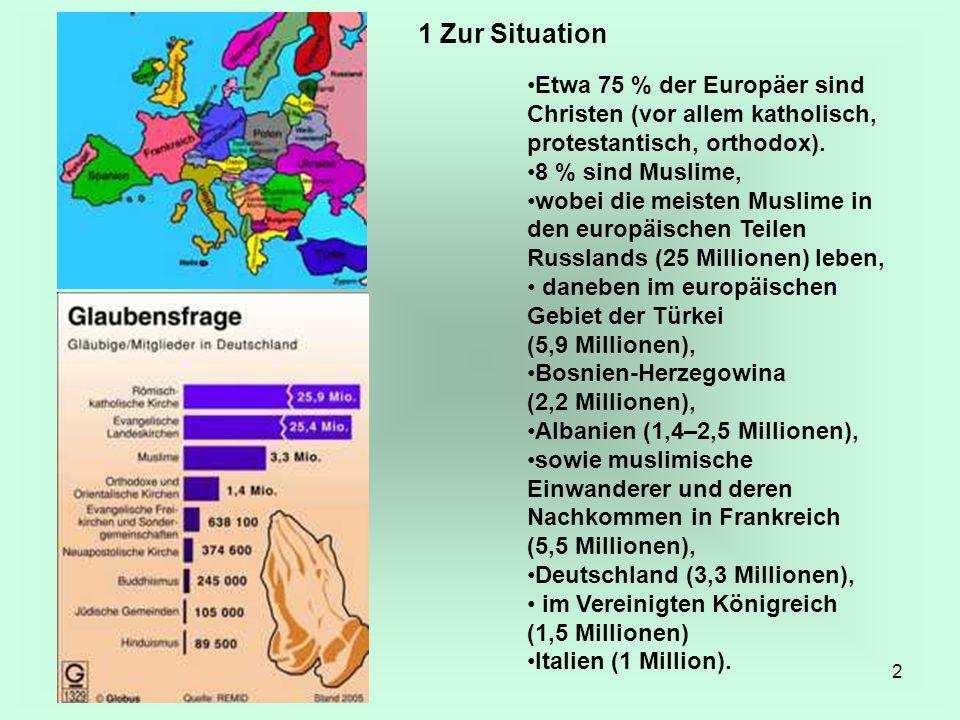 2 Etwa 75 % der Europäer sind Christen (vor allem katholisch, protestantisch, orthodox). 8 % sind Muslime, wobei die meisten Muslime in den europäisch