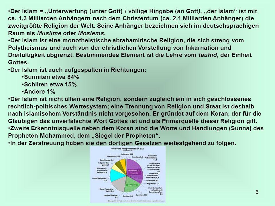 """5 Der Islam = """"Unterwerfung (unter Gott) / völlige Hingabe (an Gott), """"der Islam"""" ist mit ca. 1,3 Milliarden Anhängern nach dem Christentum (ca. 2,1 M"""