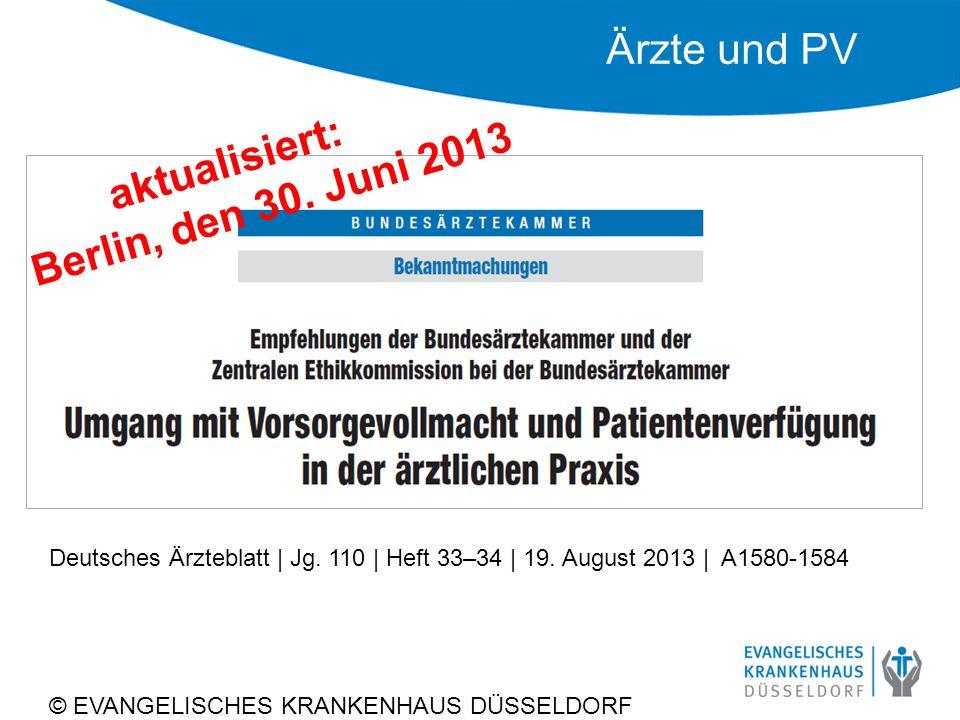 Ärzte und PV © EVANGELISCHES KRANKENHAUS DÜSSELDORF Deutsches Ärzteblatt   Jg.