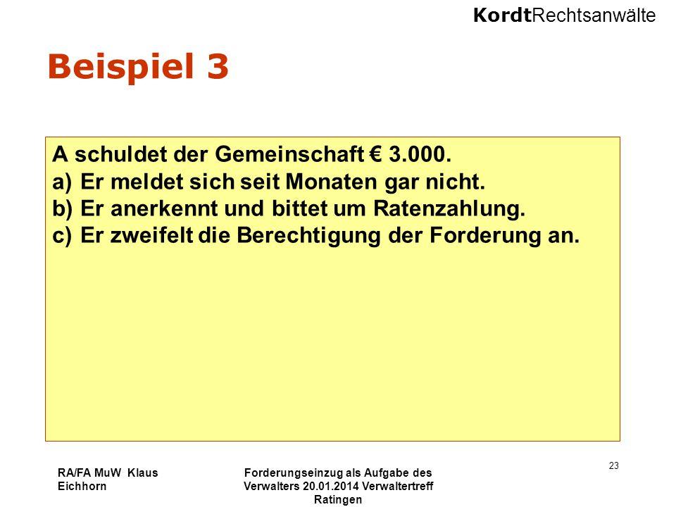 Kordt Rechtsanwälte RA/FA MuW Klaus Eichhorn Forderungseinzug als Aufgabe des Verwalters 20.01.2014 Verwaltertreff Ratingen 23 Beispiel 3 A schuldet d