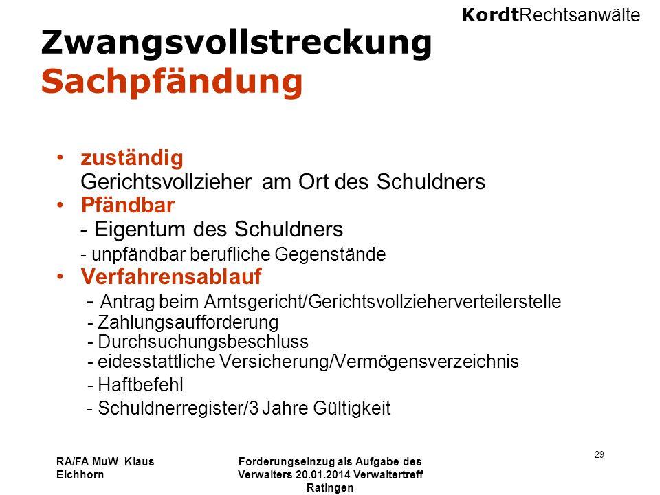 Kordt Rechtsanwälte RA/FA MuW Klaus Eichhorn Forderungseinzug als Aufgabe des Verwalters 20.01.2014 Verwaltertreff Ratingen 29 Zwangsvollstreckung Sac
