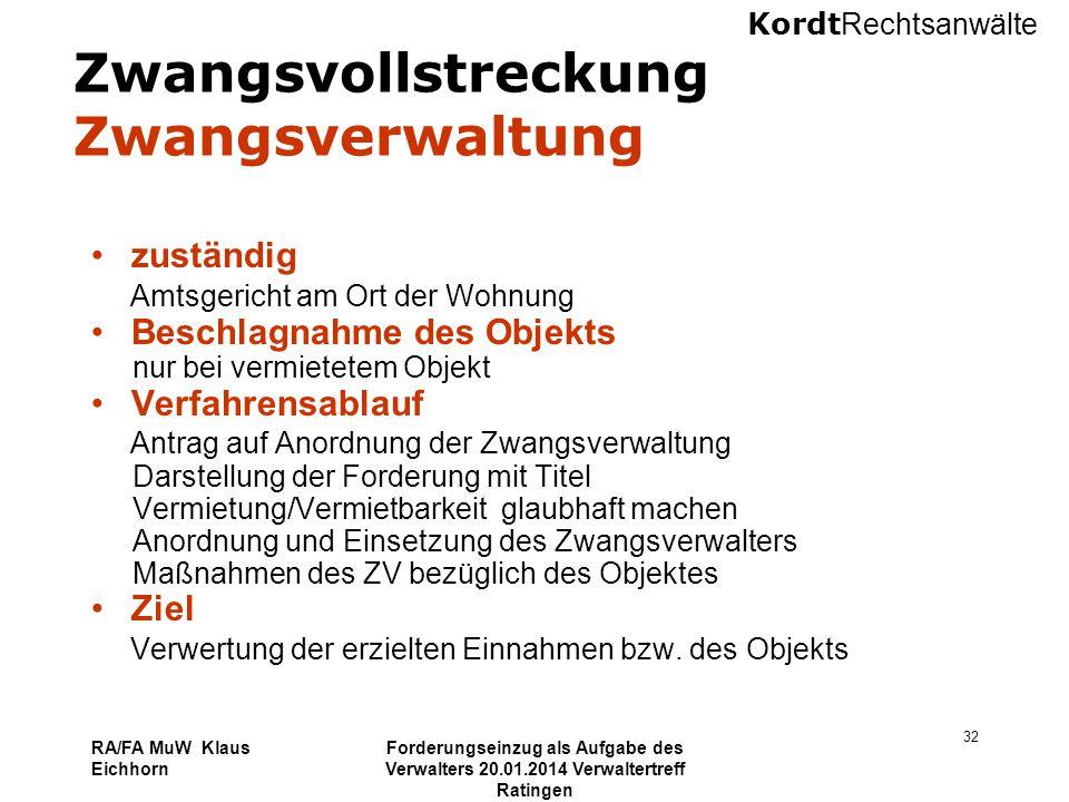 Kordt Rechtsanwälte RA/FA MuW Klaus Eichhorn Forderungseinzug als Aufgabe des Verwalters 20.01.2014 Verwaltertreff Ratingen 32 Zwangsvollstreckung Zwa