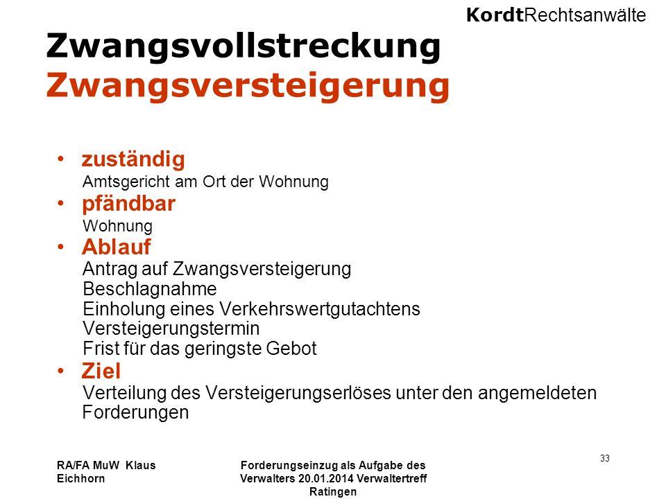 Kordt Rechtsanwälte RA/FA MuW Klaus Eichhorn Forderungseinzug als Aufgabe des Verwalters 20.01.2014 Verwaltertreff Ratingen 33 Zwangsvollstreckung Zwa