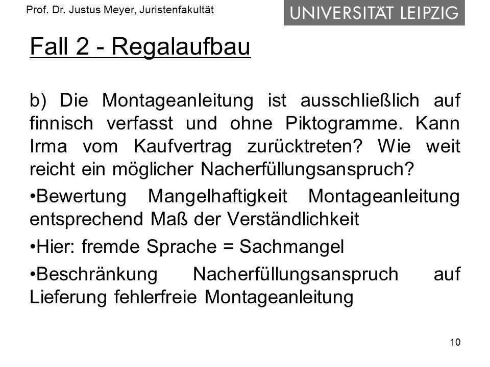 Prof. Dr. Justus Meyer, Juristenfakultät Fall 2 - Regalaufbau b) Die Montageanleitung ist ausschließlich auf finnisch verfasst und ohne Piktogramme. K