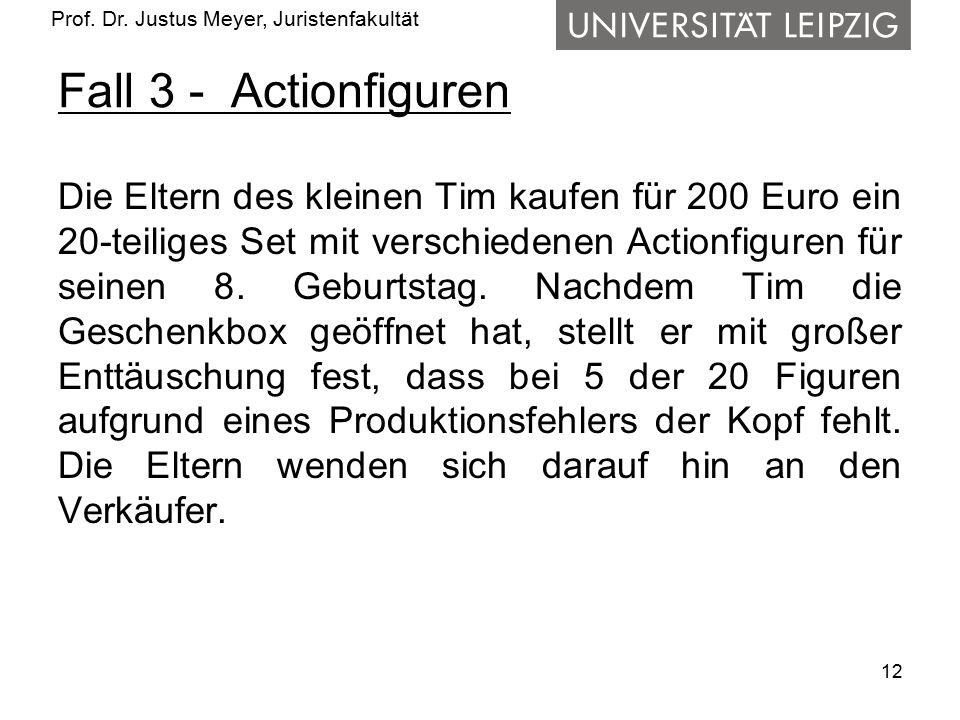 Prof. Dr. Justus Meyer, Juristenfakultät Fall 3 - Actionfiguren Die Eltern des kleinen Tim kaufen für 200 Euro ein 20-teiliges Set mit verschiedenen A