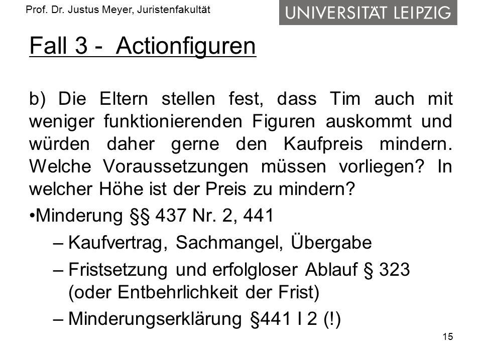 Prof. Dr. Justus Meyer, Juristenfakultät Fall 3 - Actionfiguren b) Die Eltern stellen fest, dass Tim auch mit weniger funktionierenden Figuren auskomm