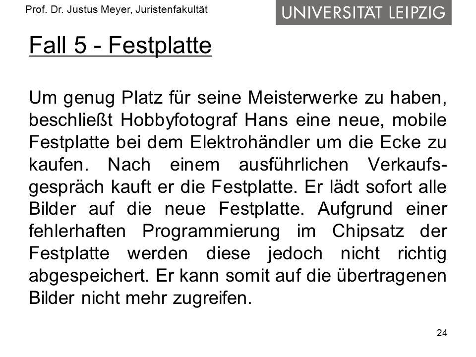 Prof. Dr. Justus Meyer, Juristenfakultät Fall 5 - Festplatte Um genug Platz für seine Meisterwerke zu haben, beschließt Hobbyfotograf Hans eine neue,