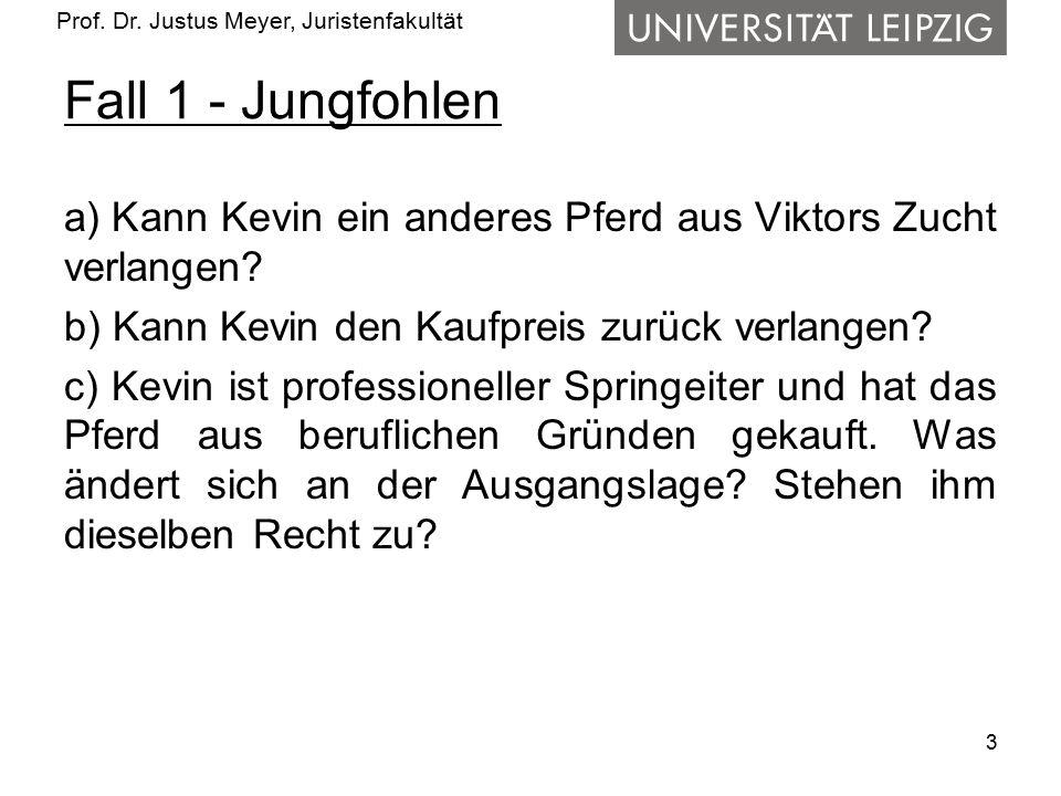 Prof. Dr. Justus Meyer, Juristenfakultät Fall 1 - Jungfohlen a) Kann Kevin ein anderes Pferd aus Viktors Zucht verlangen? b) Kann Kevin den Kaufpreis