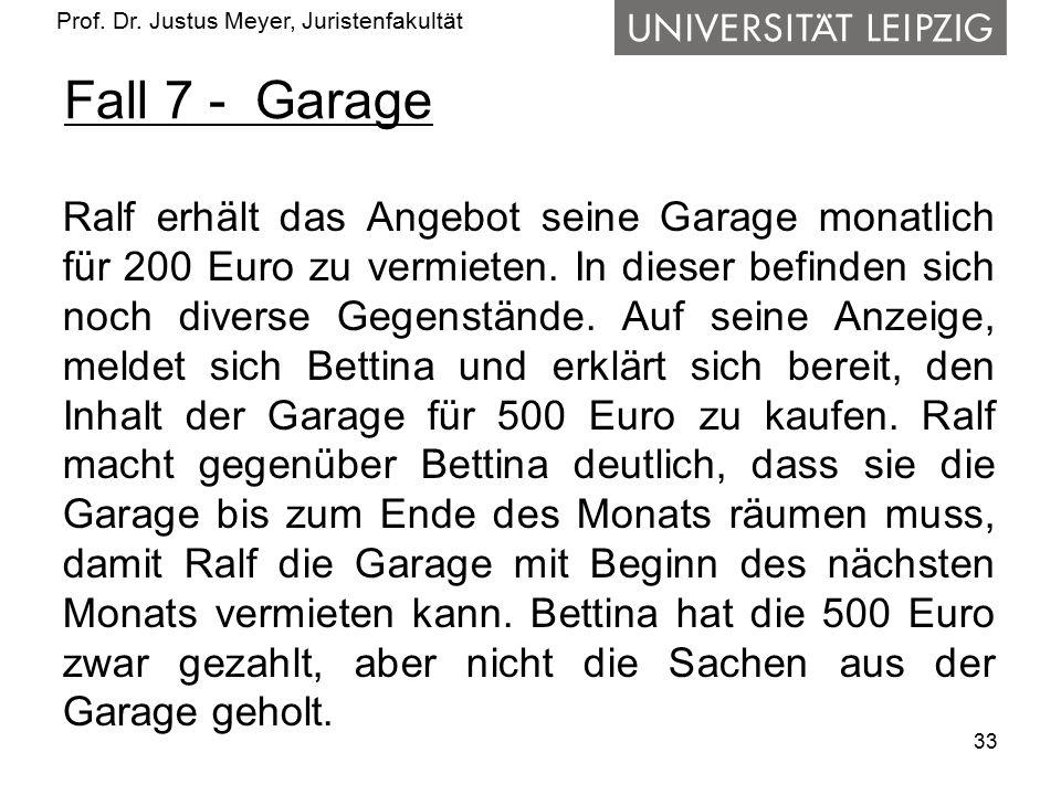 Prof. Dr. Justus Meyer, Juristenfakultät Fall 7 - Garage Ralf erhält das Angebot seine Garage monatlich für 200 Euro zu vermieten. In dieser befinden
