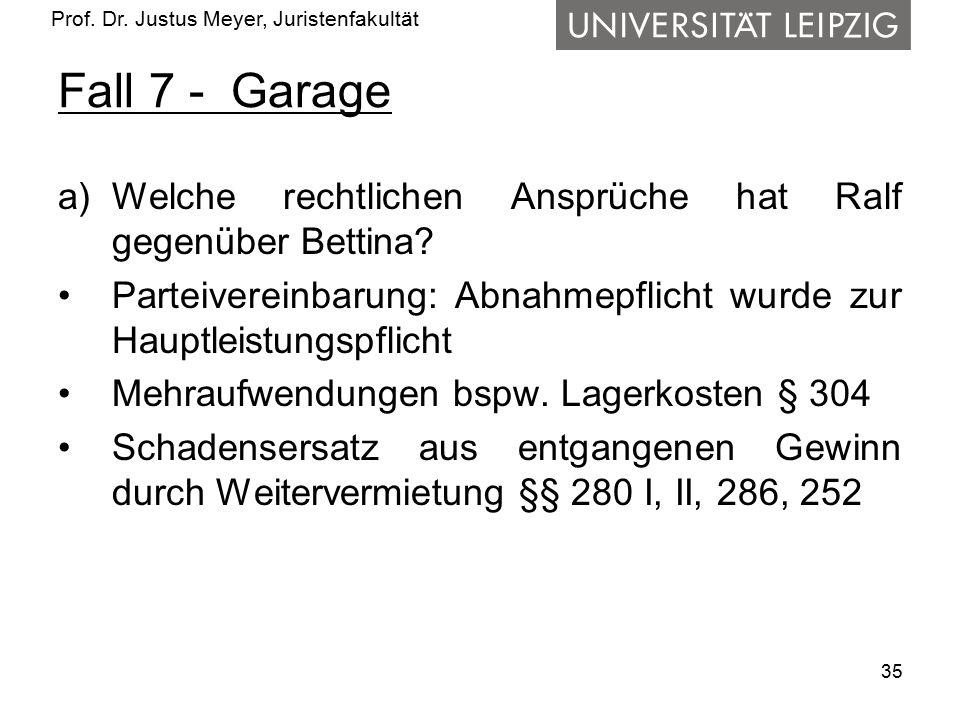 Prof. Dr. Justus Meyer, Juristenfakultät Fall 7 - Garage a)Welche rechtlichen Ansprüche hat Ralf gegenüber Bettina? Parteivereinbarung: Abnahmepflicht