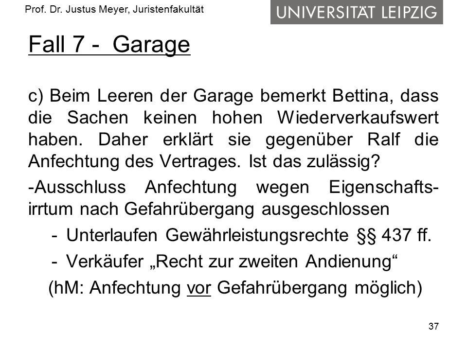 Prof. Dr. Justus Meyer, Juristenfakultät Fall 7 - Garage c) Beim Leeren der Garage bemerkt Bettina, dass die Sachen keinen hohen Wiederverkaufswert ha