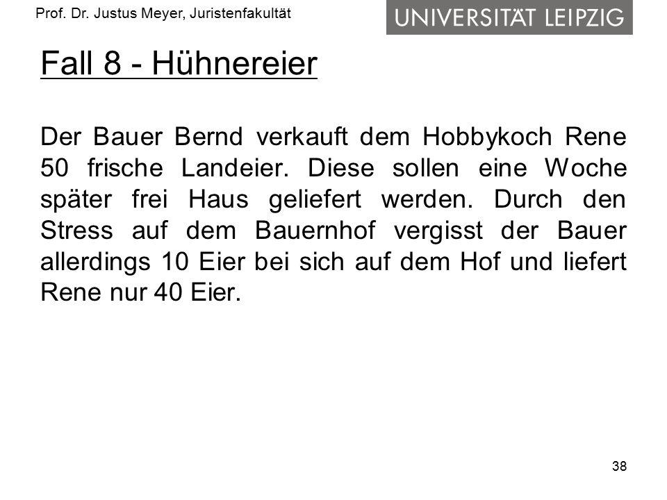 Prof. Dr. Justus Meyer, Juristenfakultät Fall 8 - Hühnereier Der Bauer Bernd verkauft dem Hobbykoch Rene 50 frische Landeier. Diese sollen eine Woche