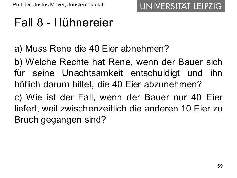 Prof. Dr. Justus Meyer, Juristenfakultät Fall 8 - Hühnereier a) Muss Rene die 40 Eier abnehmen? b) Welche Rechte hat Rene, wenn der Bauer sich für sei