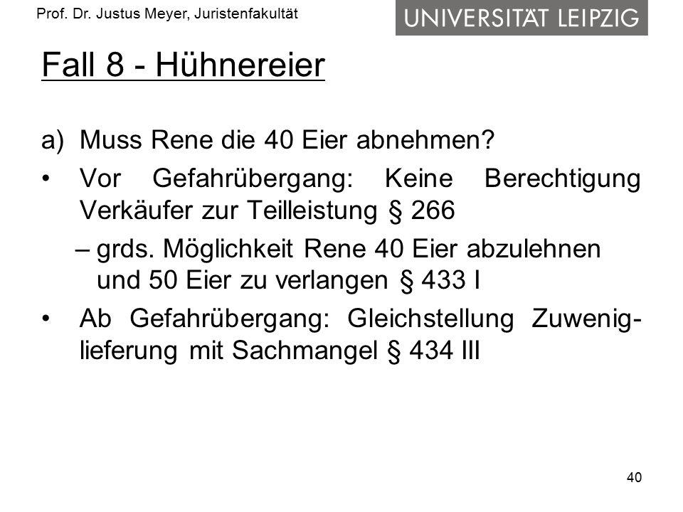 Prof. Dr. Justus Meyer, Juristenfakultät Fall 8 - Hühnereier a)Muss Rene die 40 Eier abnehmen? Vor Gefahrübergang: Keine Berechtigung Verkäufer zur Te