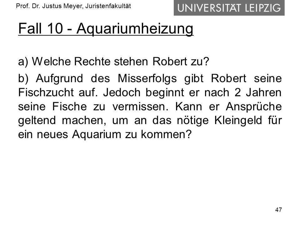 Prof. Dr. Justus Meyer, Juristenfakultät Fall 10 - Aquariumheizung a) Welche Rechte stehen Robert zu? b) Aufgrund des Misserfolgs gibt Robert seine Fi