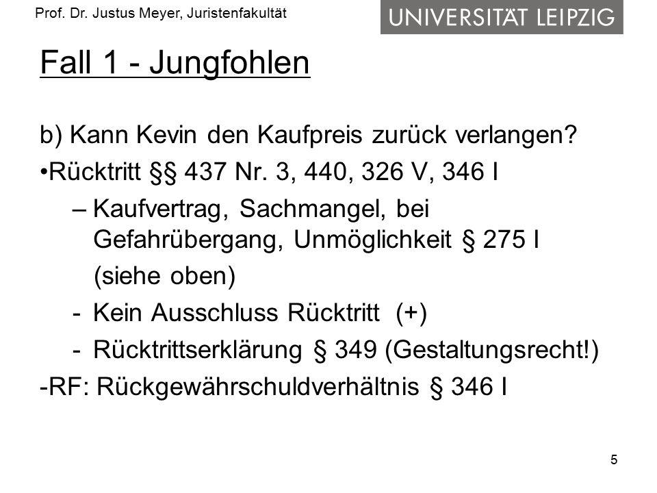 Prof. Dr. Justus Meyer, Juristenfakultät Fall 1 - Jungfohlen b) Kann Kevin den Kaufpreis zurück verlangen? Rücktritt §§ 437 Nr. 3, 440, 326 V, 346 I –