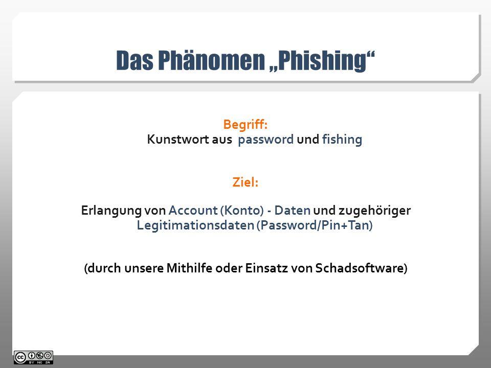 """Das Phänomen """"Phishing Begriff: Kunstwort aus password und fishing Ziel: Erlangung von Account (Konto) - Daten und zugehöriger Legitimationsdaten (Password/Pin+Tan) (durch unsere Mithilfe oder Einsatz von Schadsoftware)"""