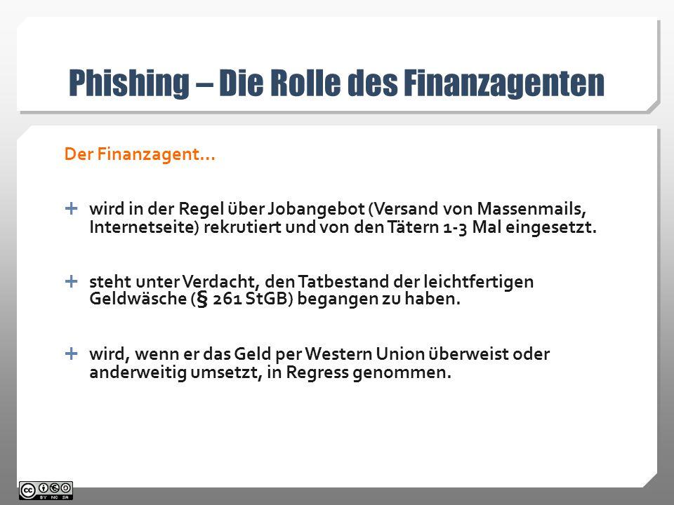 Phishing – Die Rolle des Finanzagenten Der Finanzagent…  wird in der Regel über Jobangebot (Versand von Massenmails, Internetseite) rekrutiert und von den Tätern 1-3 Mal eingesetzt.