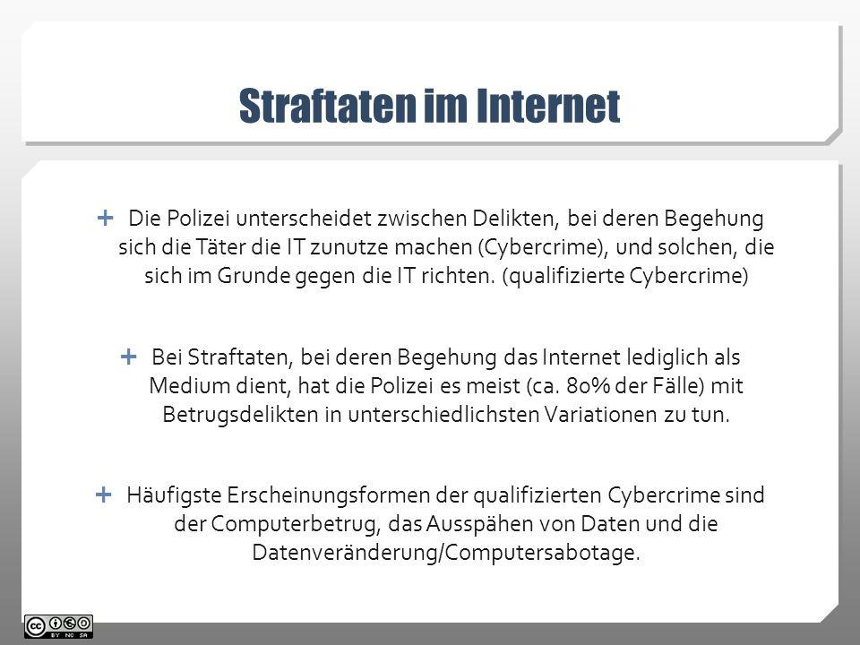 Straftaten im Internet  Die Polizei unterscheidet zwischen Delikten, bei deren Begehung sich die Täter die IT zunutze machen (Cybercrime), und solchen, die sich im Grunde gegen die IT richten.