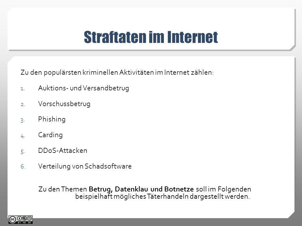 Straftaten im Internet Zu den populärsten kriminellen Aktivitäten im Internet zählen: 1.