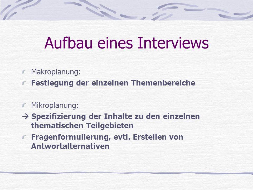 Aufbau eines Interviews Makroplanung: Festlegung der einzelnen Themenbereiche Mikroplanung:  Spezifizierung der Inhalte zu den einzelnen thematischen
