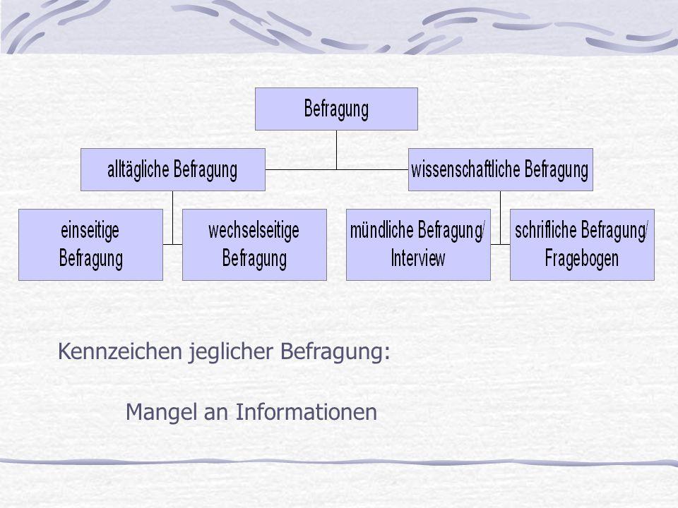 Kennzeichen jeglicher Befragung: Mangel an Informationen