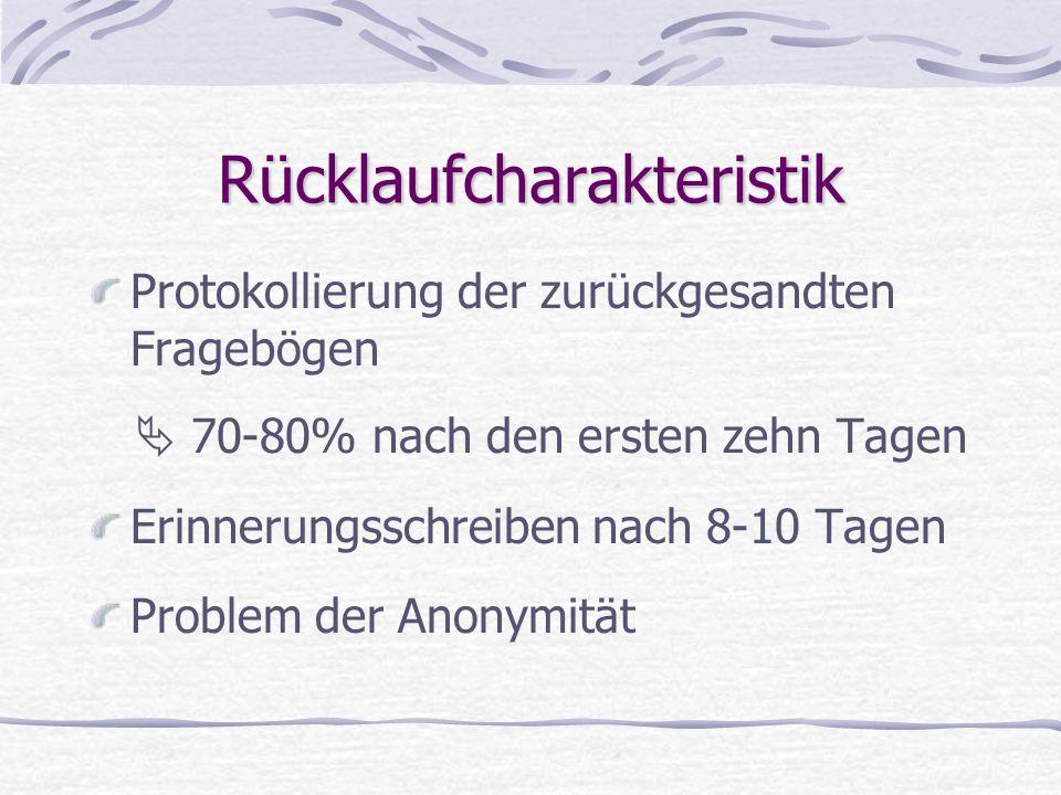 Rücklaufcharakteristik Protokollierung der zurückgesandten Fragebögen  70-80% nach den ersten zehn Tagen Erinnerungsschreiben nach 8-10 Tagen Problem