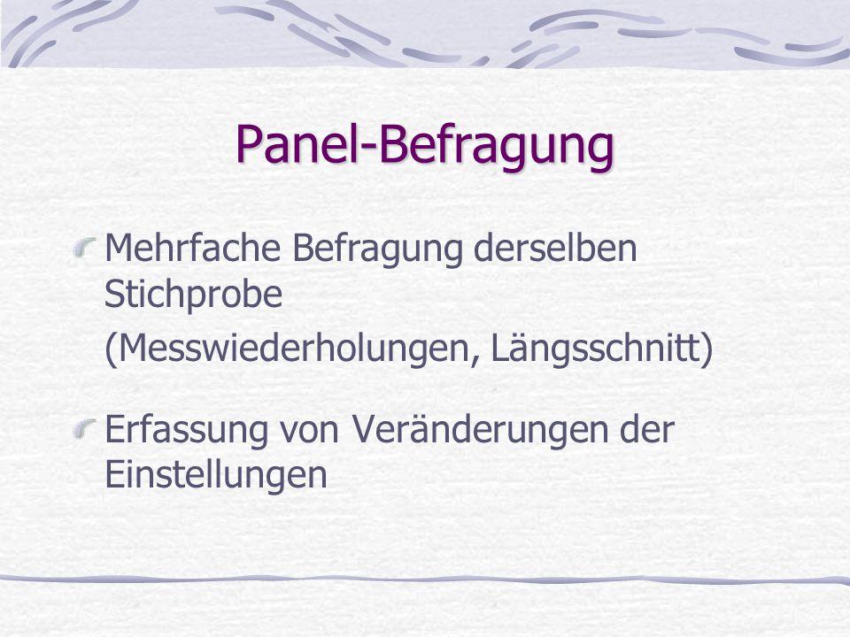Panel-Befragung Mehrfache Befragung derselben Stichprobe (Messwiederholungen, Längsschnitt) Erfassung von Veränderungen der Einstellungen