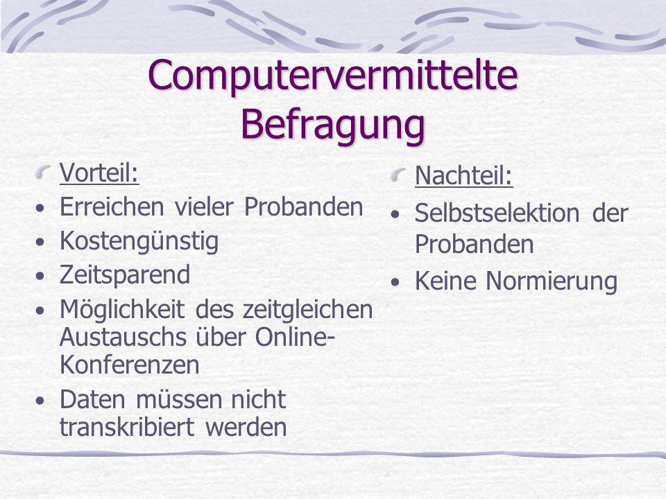 Computervermittelte Befragung Vorteil: Erreichen vieler Probanden Kostengünstig Zeitsparend Möglichkeit des zeitgleichen Austauschs über Online- Konfe