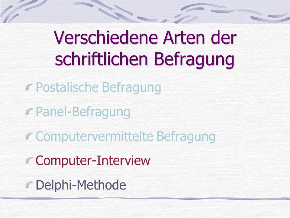 Verschiedene Arten der schriftlichen Befragung Postalische Befragung Panel-Befragung Computervermittelte Befragung Computer-Interview Delphi-Methode