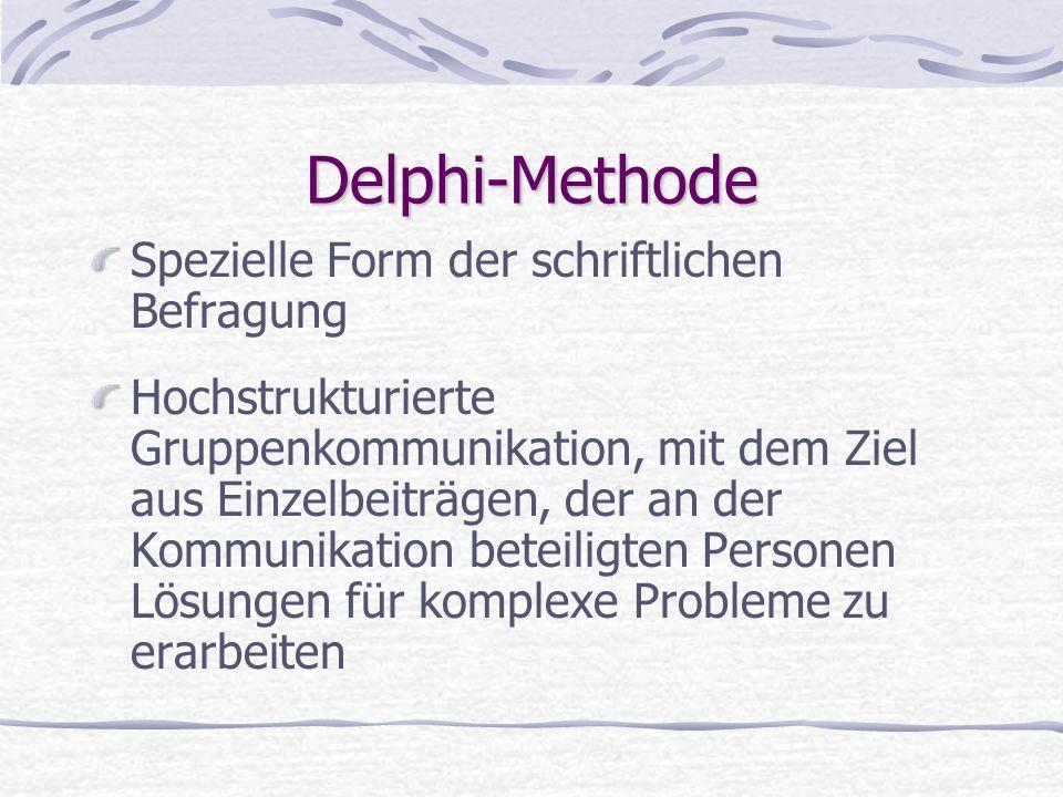 Delphi-Methode Spezielle Form der schriftlichen Befragung Hochstrukturierte Gruppenkommunikation, mit dem Ziel aus Einzelbeiträgen, der an der Kommuni