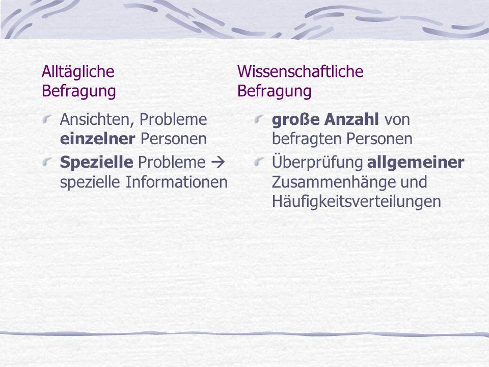 Vorteile - Persönliches Interview motiviert zur Mitarbeit - Erfassung von nicht beobachtbarer Verhaltensweisen - Abbau von Hemmungen - Rückfragen möglich - Flexibilität