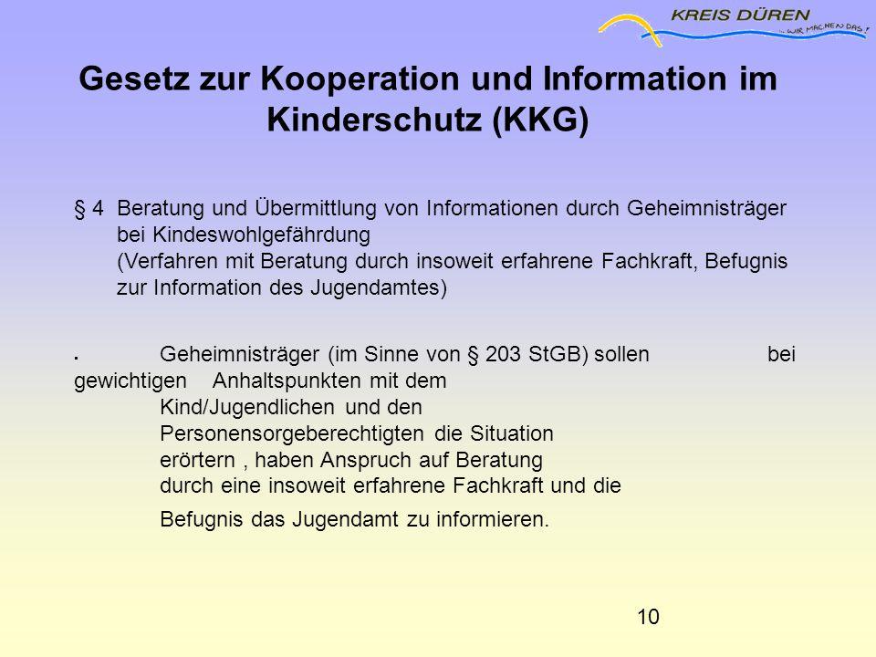 § 4 Beratung und Übermittlung von Informationen durch Geheimnisträger bei Kindeswohlgefährdung (Verfahren mit Beratung durch insoweit erfahrene Fachkr