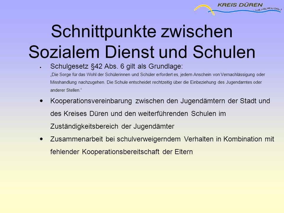 """Schnittpunkte zwischen Sozialem Dienst und Schulen  Schulgesetz §42 Abs. 6 gilt als Grundlage: """"Die Sorge für das Wohl der Schülerinnen und Schüler e"""