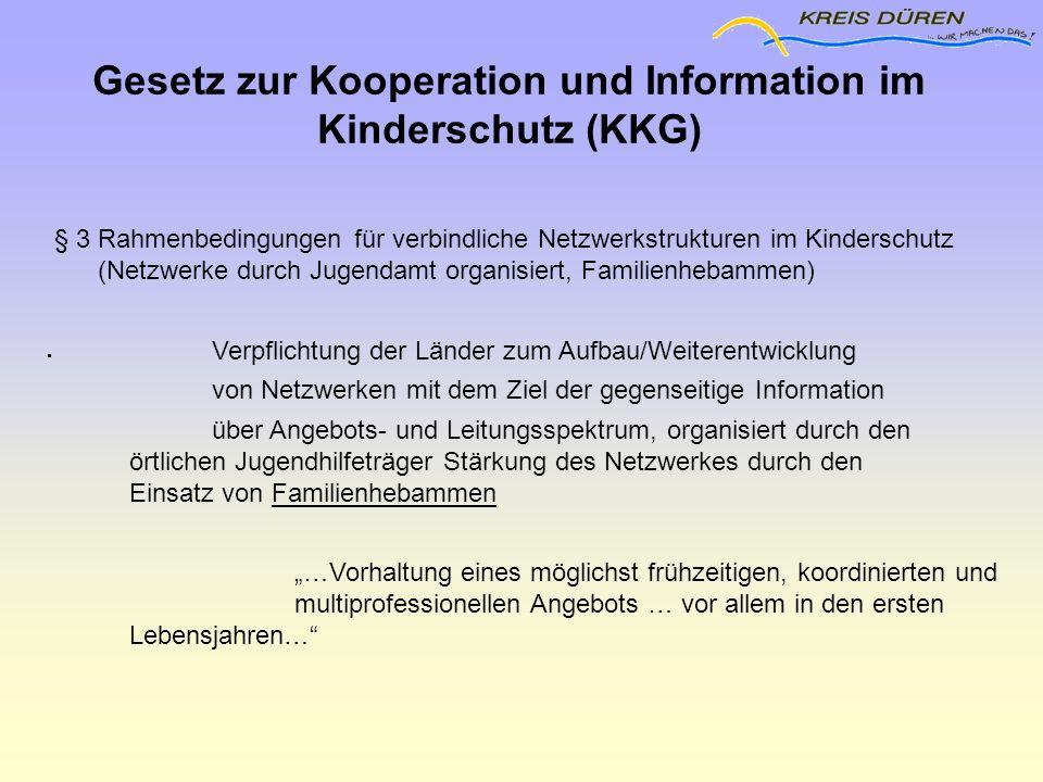 § 3 Rahmenbedingungen für verbindliche Netzwerkstrukturen im Kinderschutz (Netzwerke durch Jugendamt organisiert, Familienhebammen)  Verpflichtung de