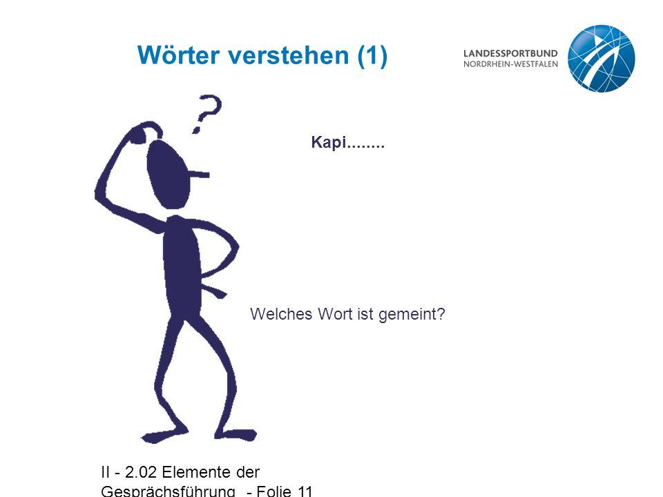 II - 2.02 Elemente der Gesprächsführung - Folie 11 Wörter verstehen (1) Kapi........