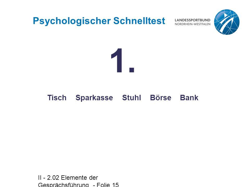 II - 2.02 Elemente der Gesprächsführung - Folie 15 Psychologischer Schnelltest Tisch Sparkasse Stuhl Börse Bank 1.