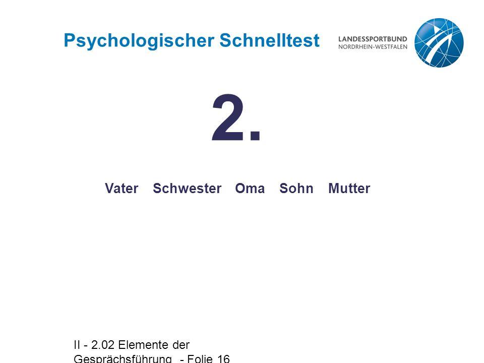 II - 2.02 Elemente der Gesprächsführung - Folie 16 Vater Schwester Oma Sohn Mutter Psychologischer Schnelltest 2.
