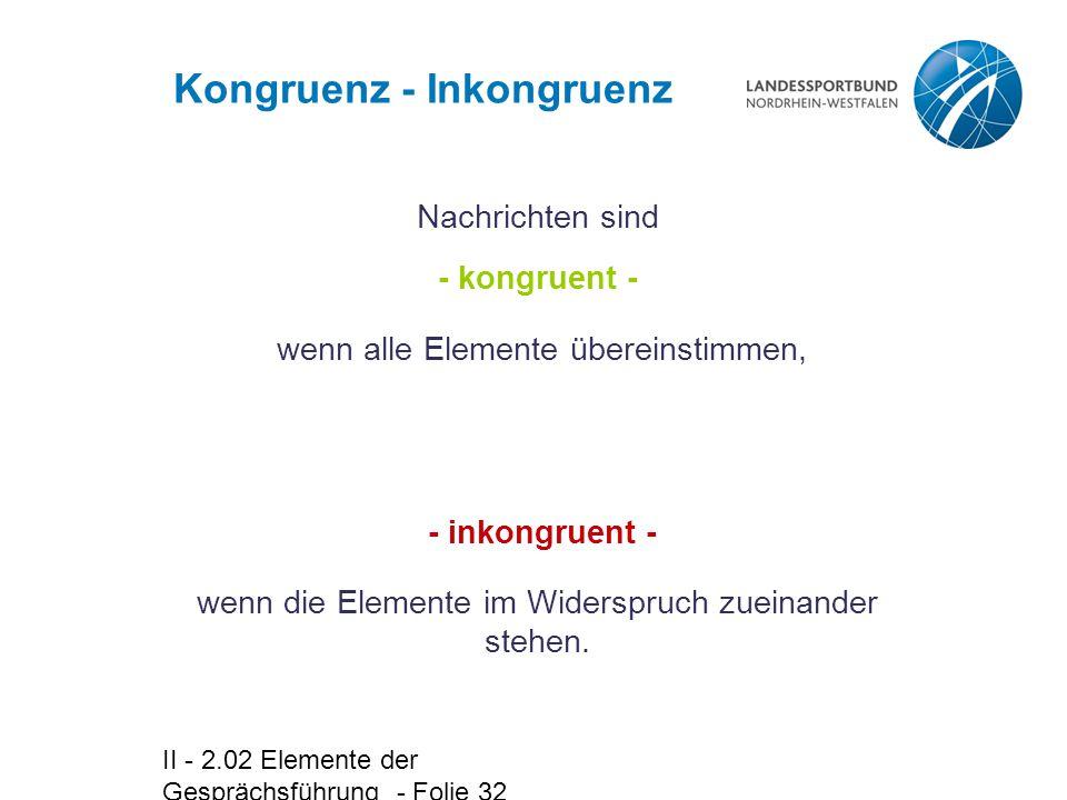 II - 2.02 Elemente der Gesprächsführung - Folie 32 Kongruenz - Inkongruenz Nachrichten sind - kongruent - wenn alle Elemente übereinstimmen, wenn die Elemente im Widerspruch zueinander stehen.