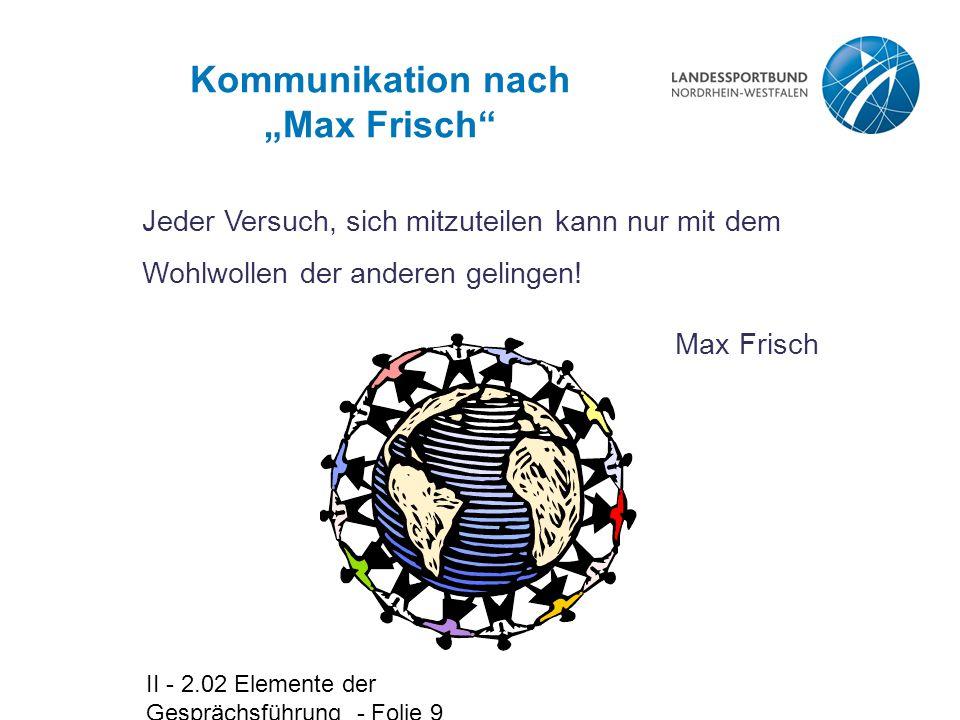 """II - 2.02 Elemente der Gesprächsführung - Folie 9 Kommunikation nach """"Max Frisch Jeder Versuch, sich mitzuteilen kann nur mit dem Wohlwollen der anderen gelingen."""