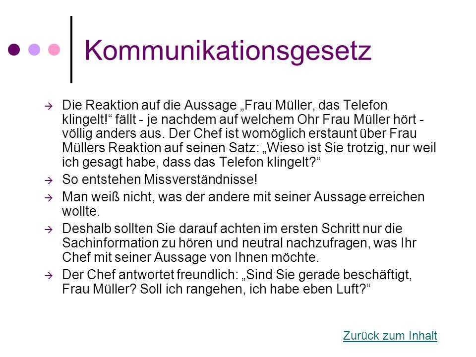 """Kommunikationsgesetz  Die Reaktion auf die Aussage """"Frau Müller, das Telefon klingelt!"""" fällt - je nachdem auf welchem Ohr Frau Müller hört - völlig"""