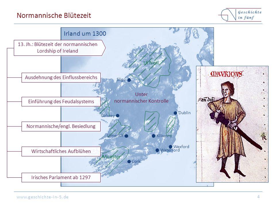 www.geschichte-in-5.de Dublin Cork Galway Sligo Wexford Waterford Kilkenny Unter normannischer Kontrolle Limerick Ui Neill Munster Irland um 1300 Normannischer Niedergang & Re-Gälisierung 5 1315 – 1318: Im Rahmen des Schottischen Unabhängigkeitskrieges fällt der Bruder des Königs Edward Bruce in Irland ein 1333: Der Mord an William Donn de Burgh, 3rd Earl of Ulster & Lord of Connacht löst einen Erbfolgekrieg & die Teilung des Besitzes aus, so dass die Zentralregierung die Kontrolle über die westlichen Gebiete verliert 1315 – 1317: Europäische Hungersnot schwächt Irland 1350: Die Pest fordert hohe Opfer, insb.
