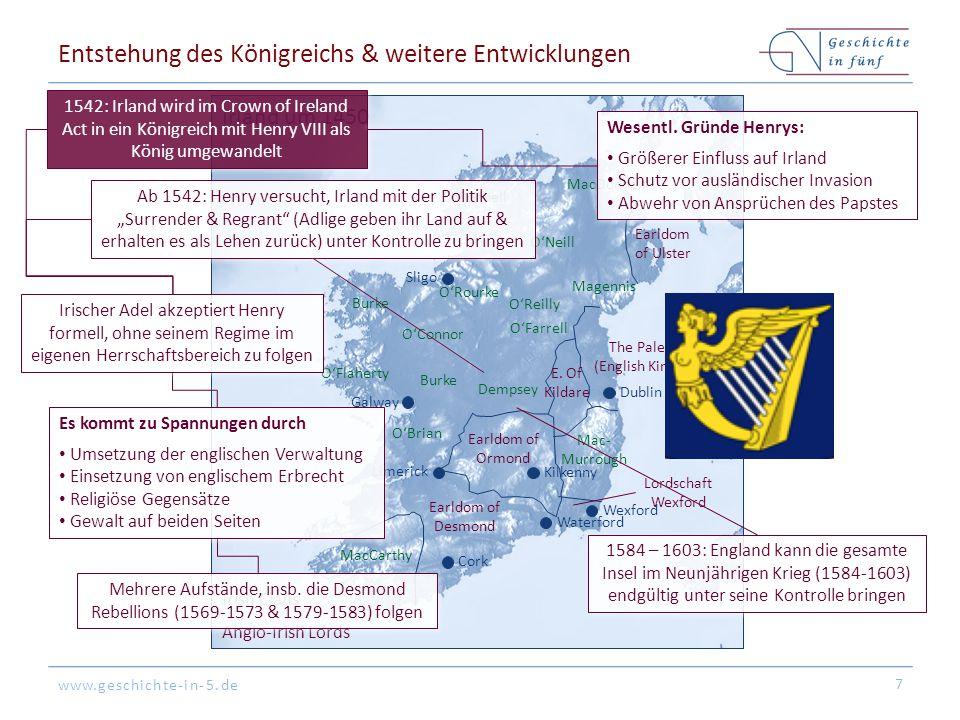 www.geschichte-in-5.de Dublin Cork Galway Sligo Wexford Waterford Kilkenny Unter normannischer Kontrolle Limerick Ui Neill Munster Irland um 1300 Dubl