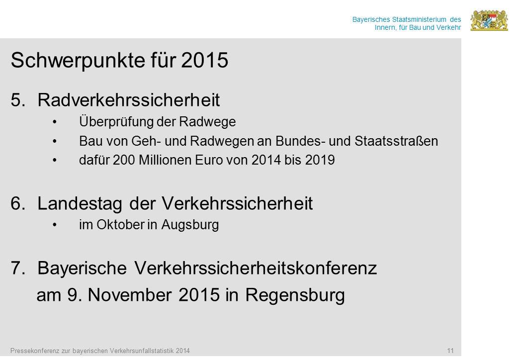 Bayerisches Staatsministerium des Innern, für Bau und Verkehr Schwerpunkte für 2015 5.Radverkehrssicherheit Überprüfung der Radwege Bau von Geh- und R