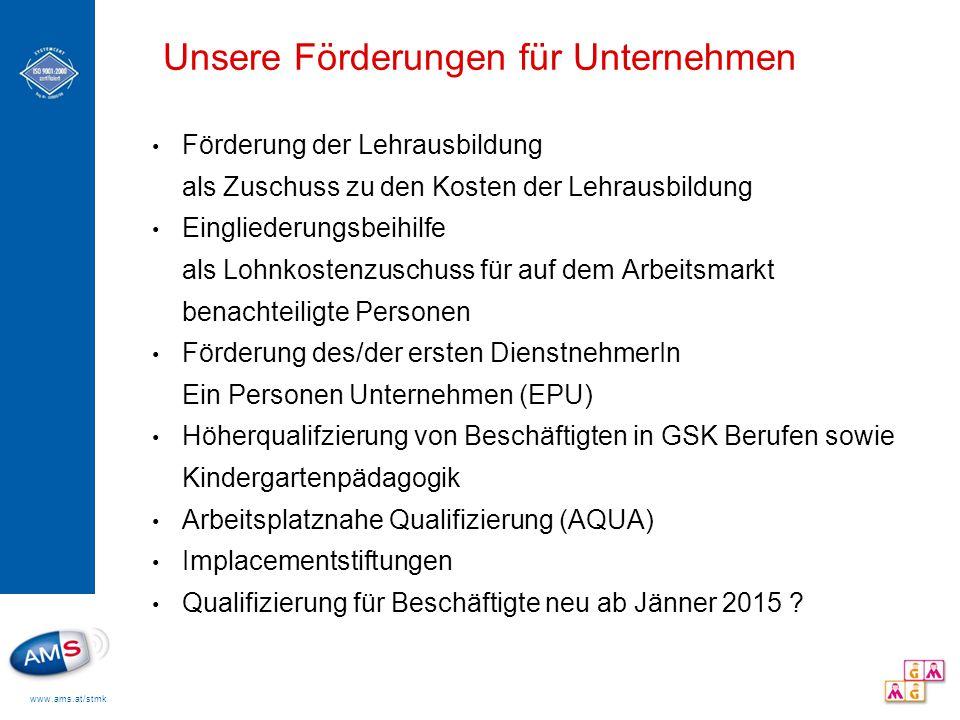 www.ams.at/stmk Qualifizierung für Beschäftigte Neu Eckpunkte in Planung: voraussichtlich ab 01.01.2015 Zielgruppen: ArbeitnehmerInnen mit max.